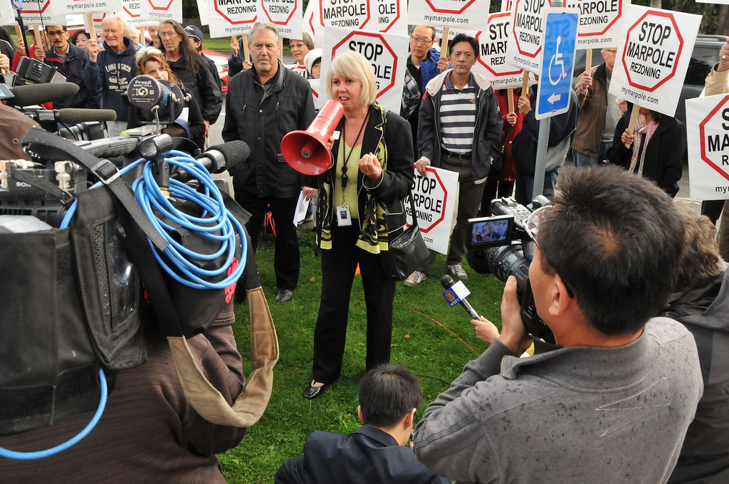 Adriane Carr addressing the crowd at the Four Community Plans Rally at City Hall on September 24th.